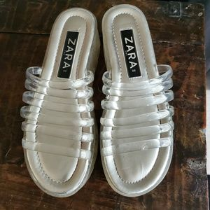 Zara clear plastic and silver slide sandals